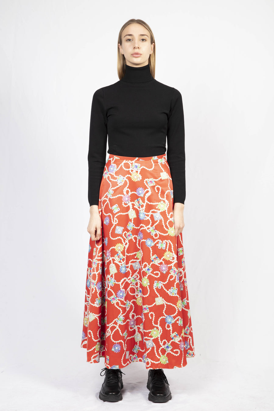 Maxi Printed Skirt/Turtle Neck Knit Dress