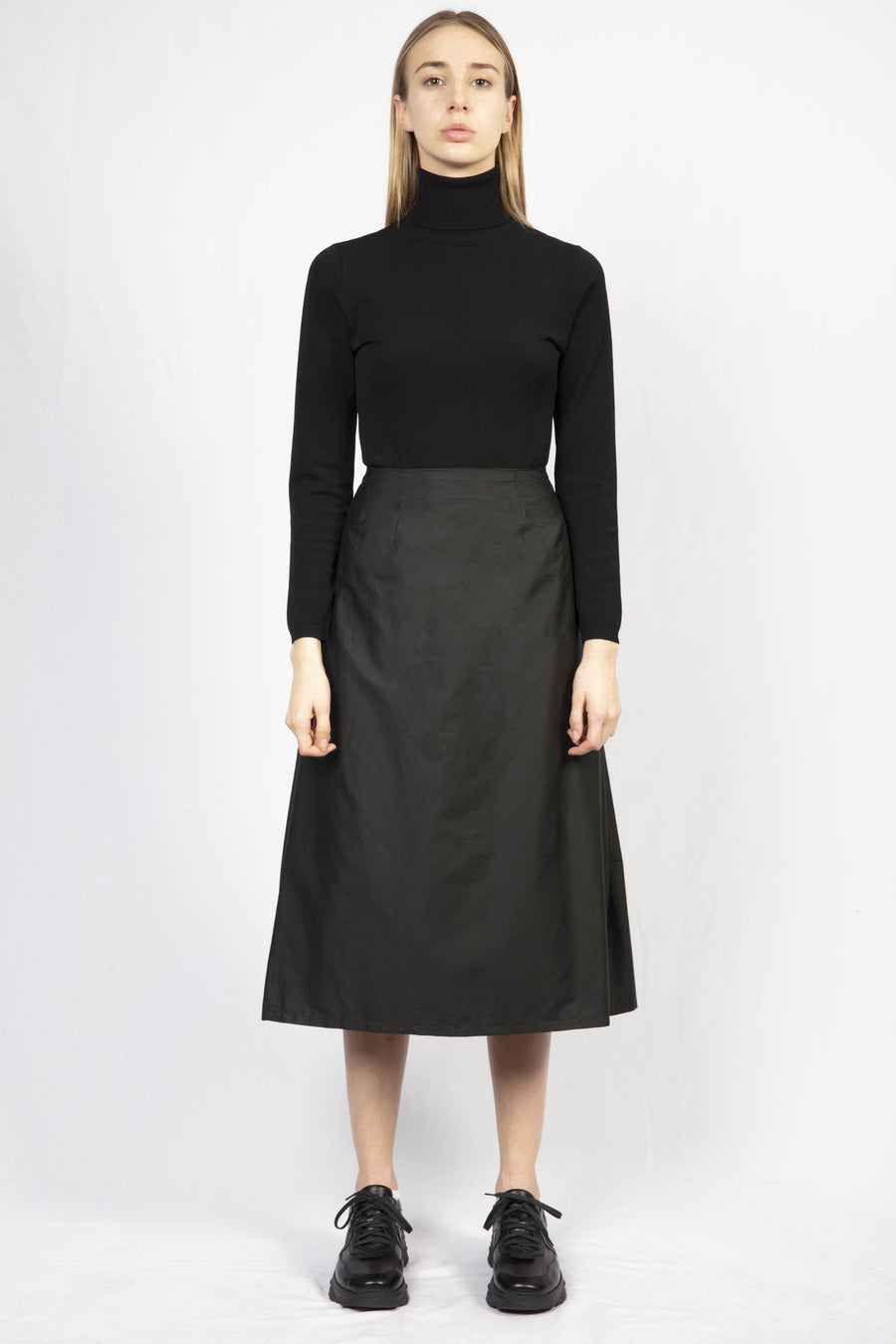 Black Cotton Pleated Skirt/Turtle Neck Knit Dress