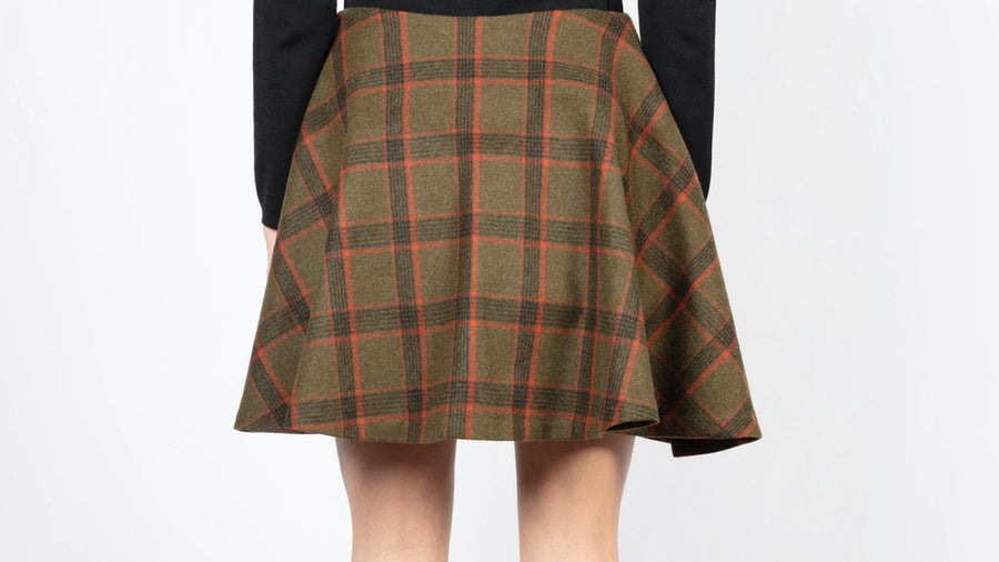Checked Flared Mini Skirt