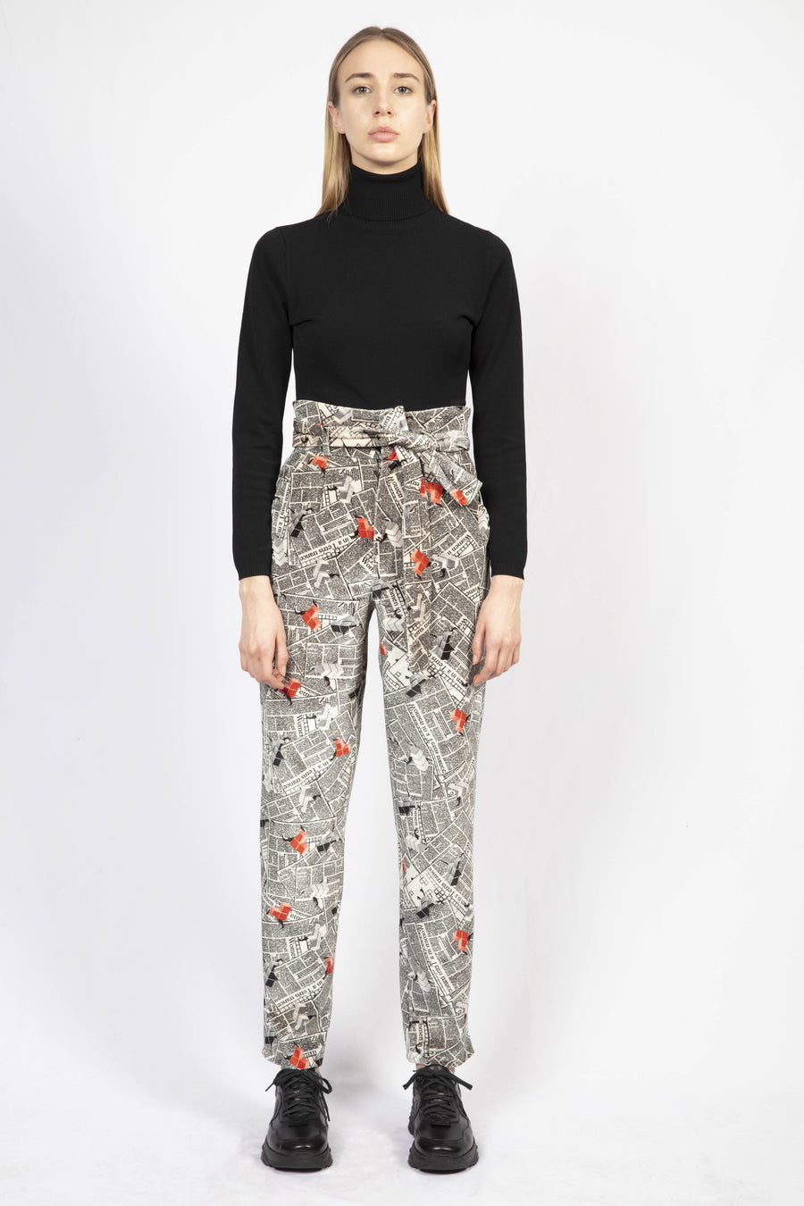 Printed High-waisted Tailored Pants/ Turtle Neck Dress