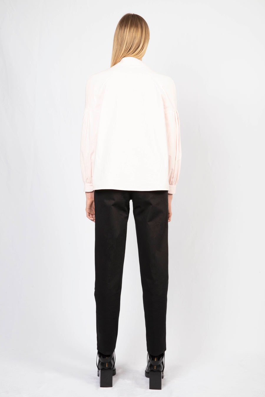 Mandarin Collar Shirt/High-waisted Tailored Pants