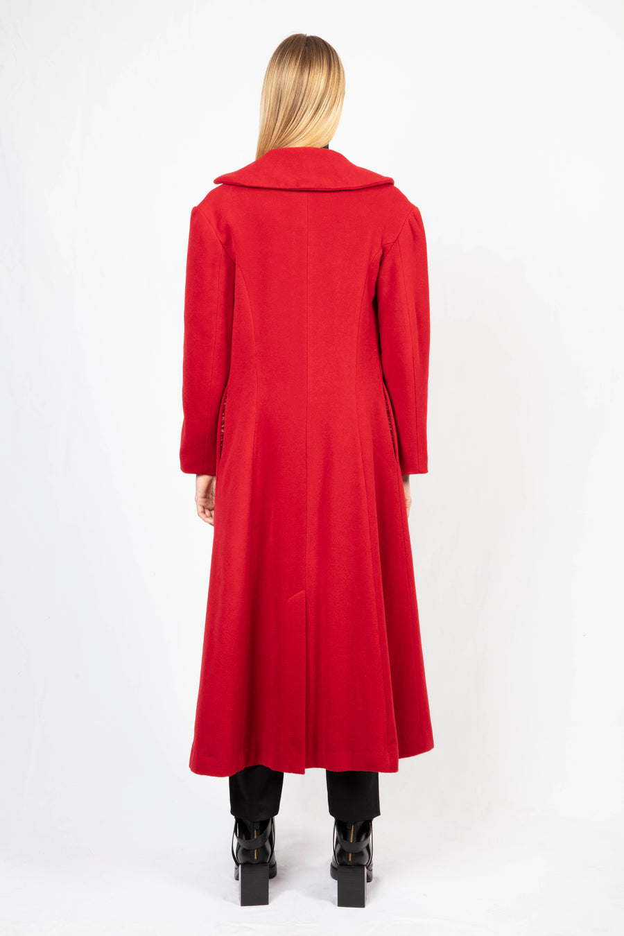 Single-breasted Long Coat/Turtle Neck Knit Dress