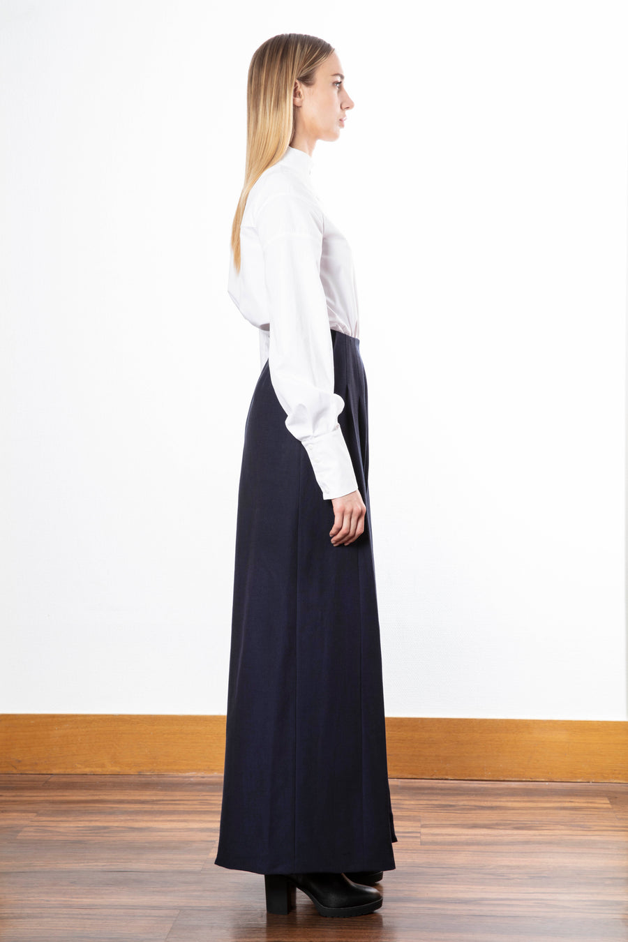 Wide-leg pants/Mandarin Collar Shirt