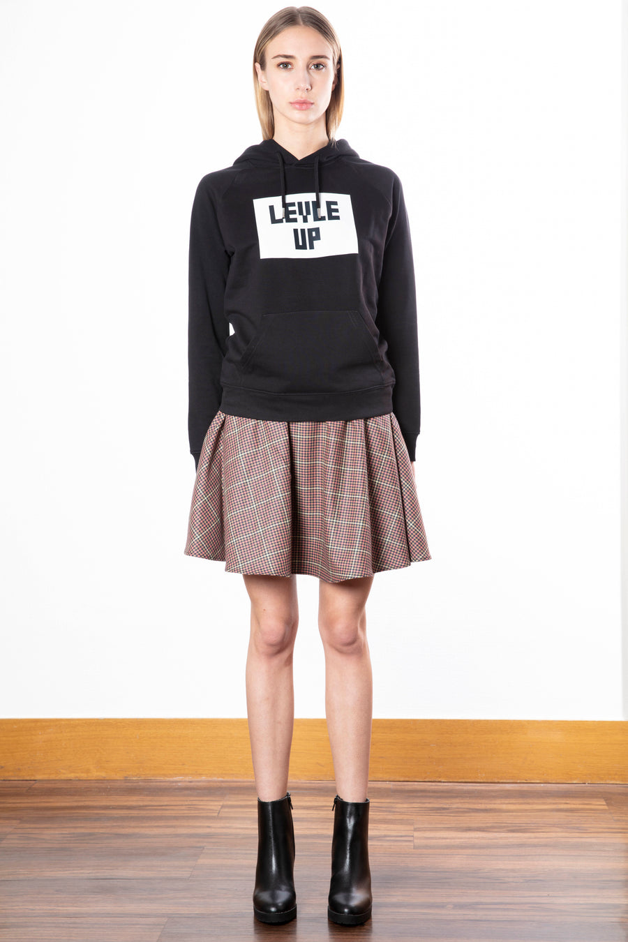 Checked Flared Mini Skirt/Tetris Game Hoodie