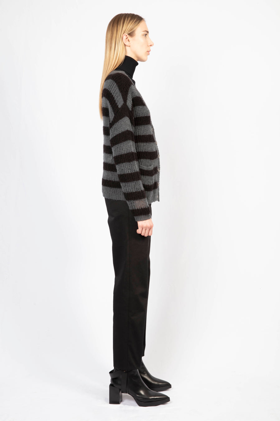 Striped Cardigan/High-waisted Tailored Pants