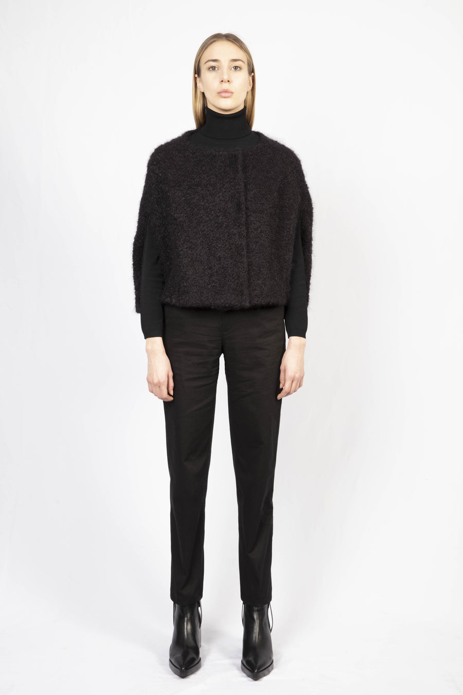 Short Woolen Cape/High-Waisted Tailored Pants
