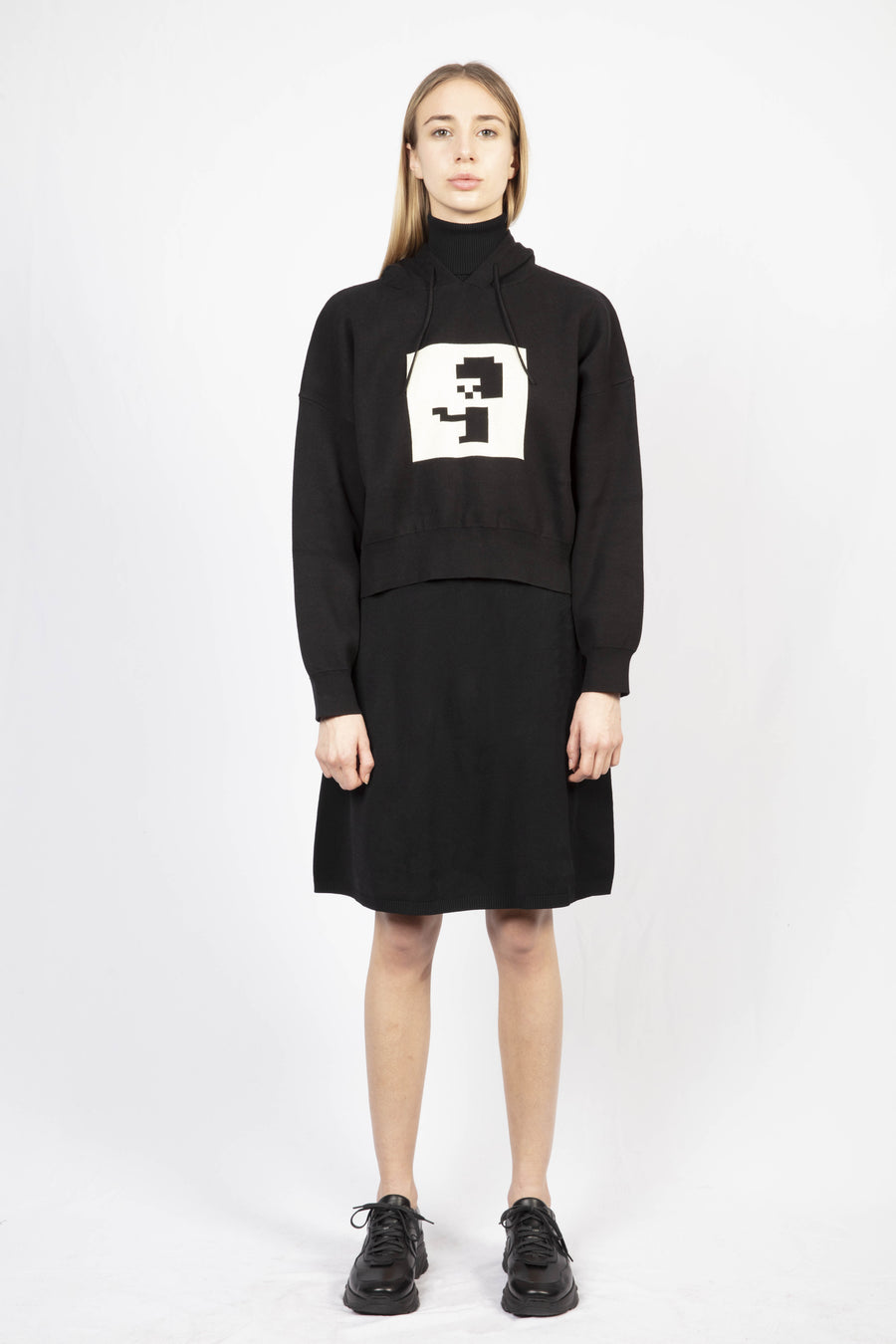 Printed Hoodie/Turtle Neck Knit Dress