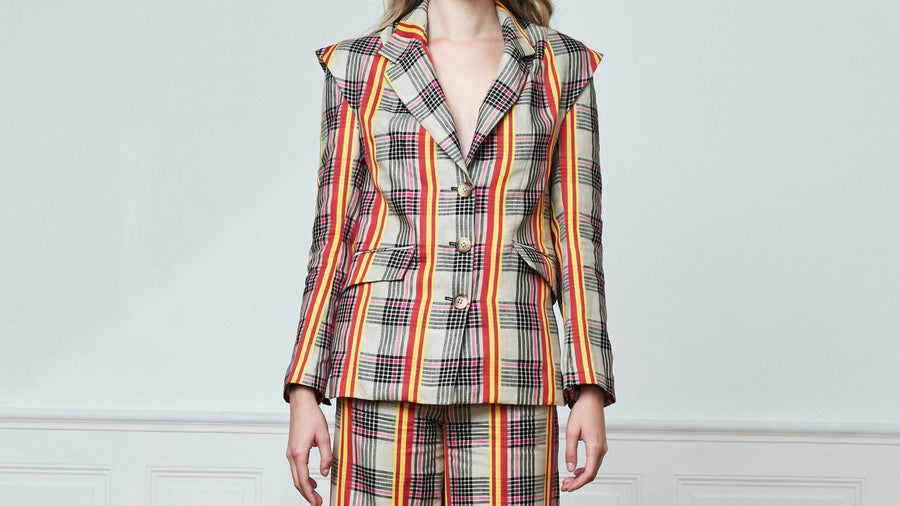 Check Button Blazer With Semi Notched Collar