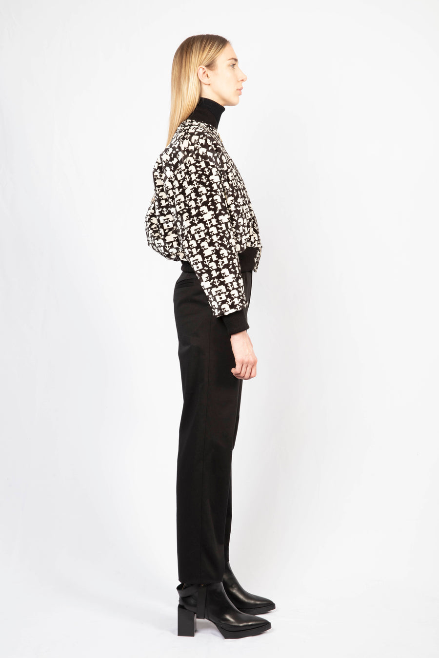 Printed Bomber Jacket/High-Waisted Tailored Pants