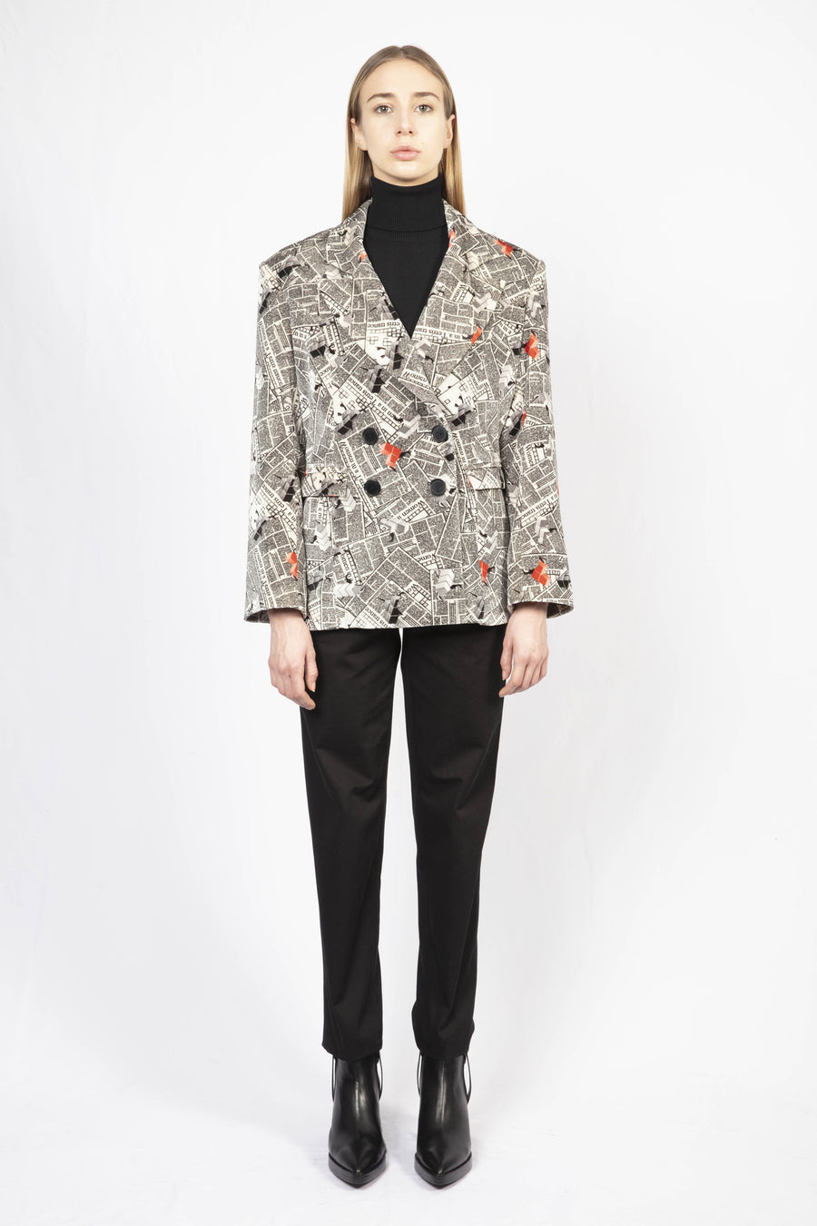 Printed Tailored Blazer and High-Waisted tailored pants