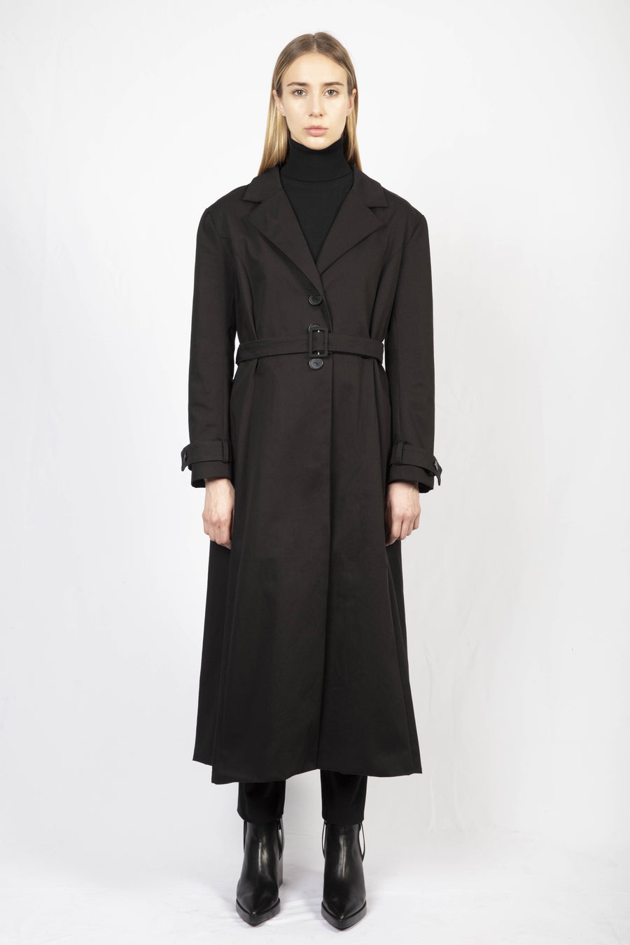 Cotton Trench Coat/Turtle Neck Knit Dress