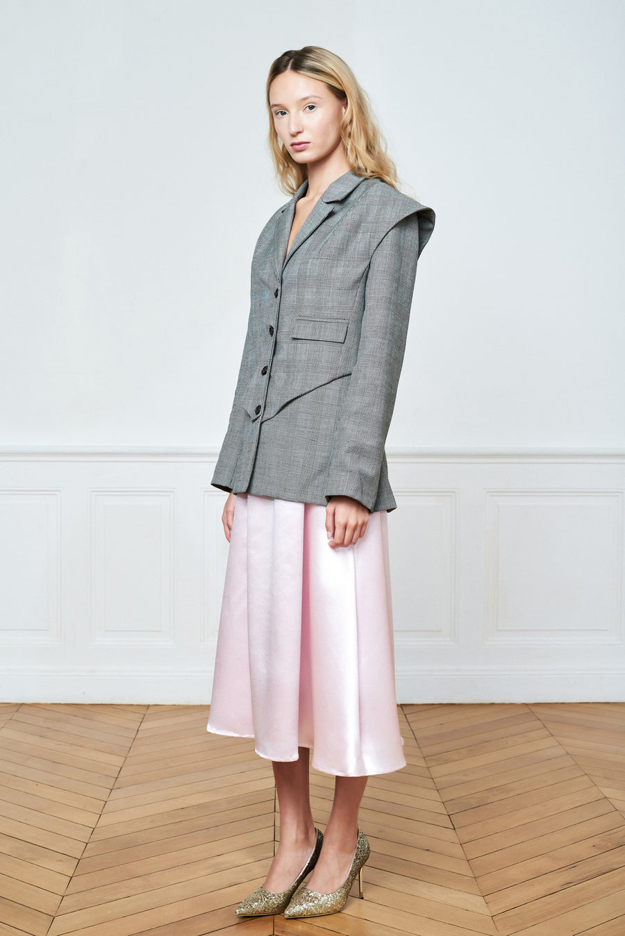 Double Layered Tailored Blazer and Over Knee Skirt