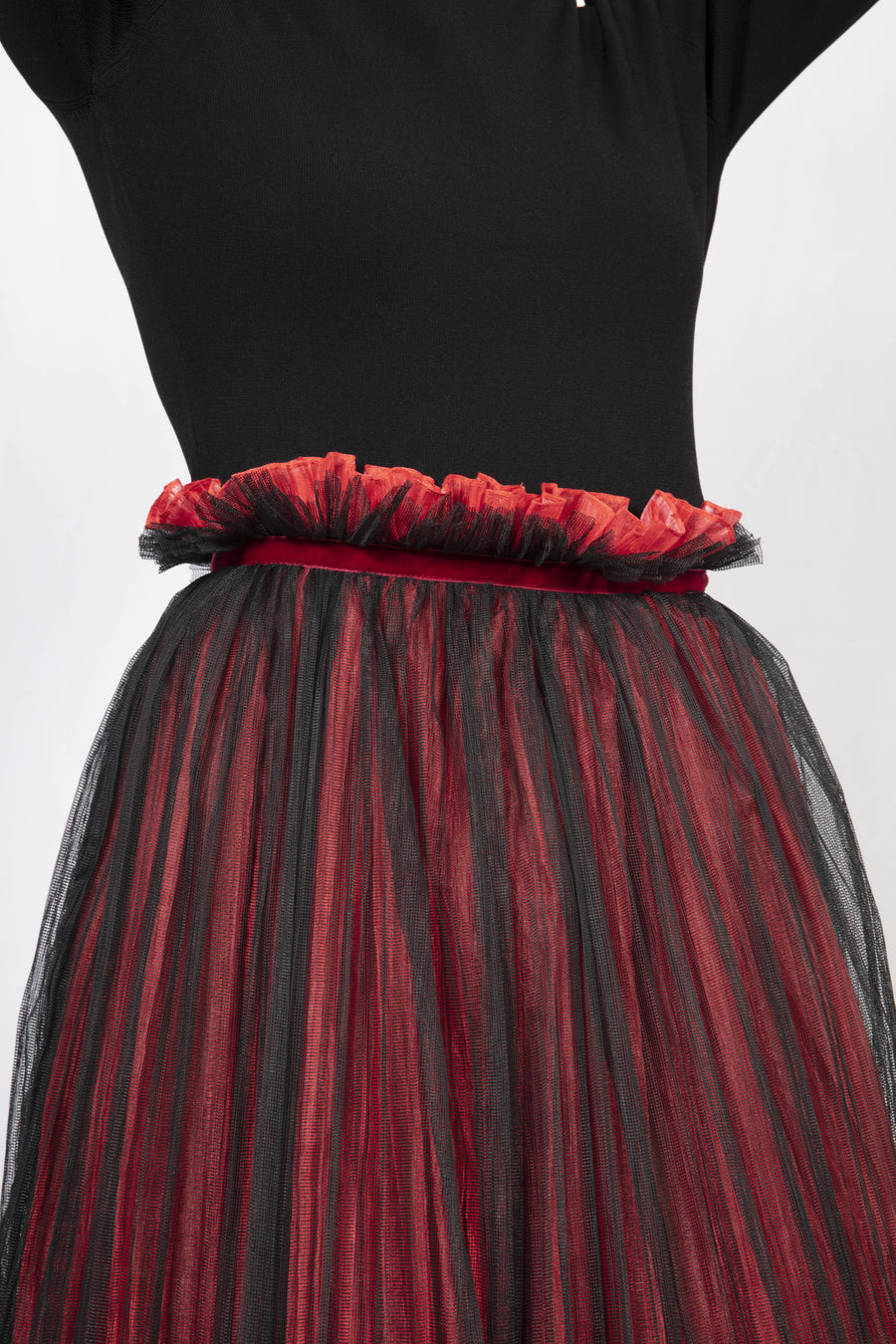Mesh Layer Pleated Skirt
