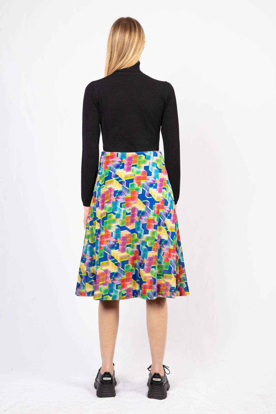 Printed Midi Skirt/Turtle Neck Knit Dress