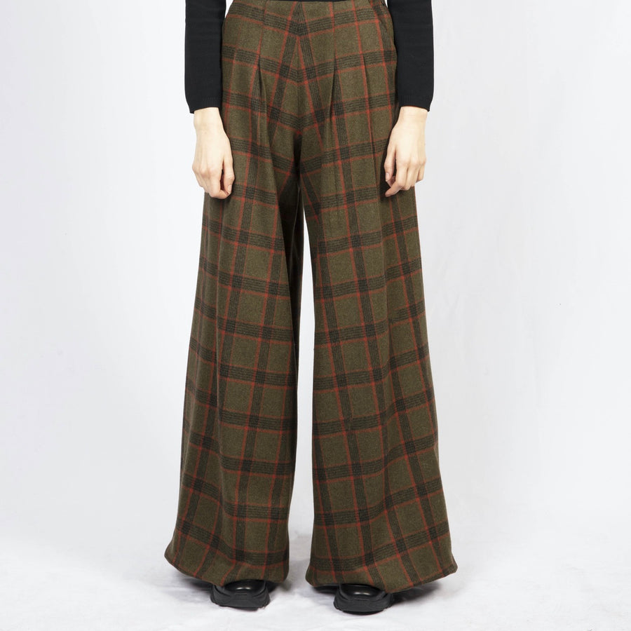 Checked High-Waisted Tailored Trousers