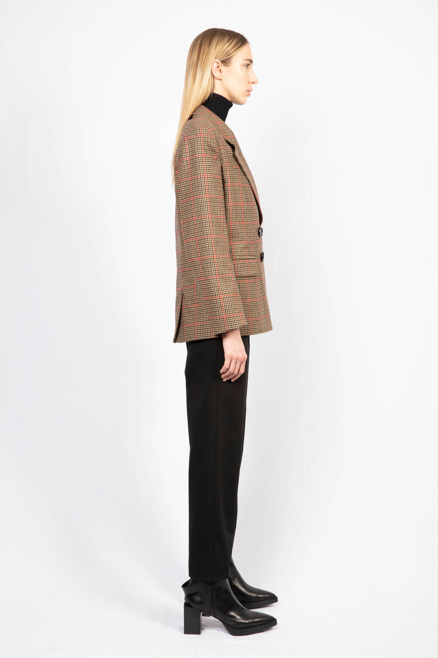Checked Woolen Tailored Blazer & High-Waisted tailored pants