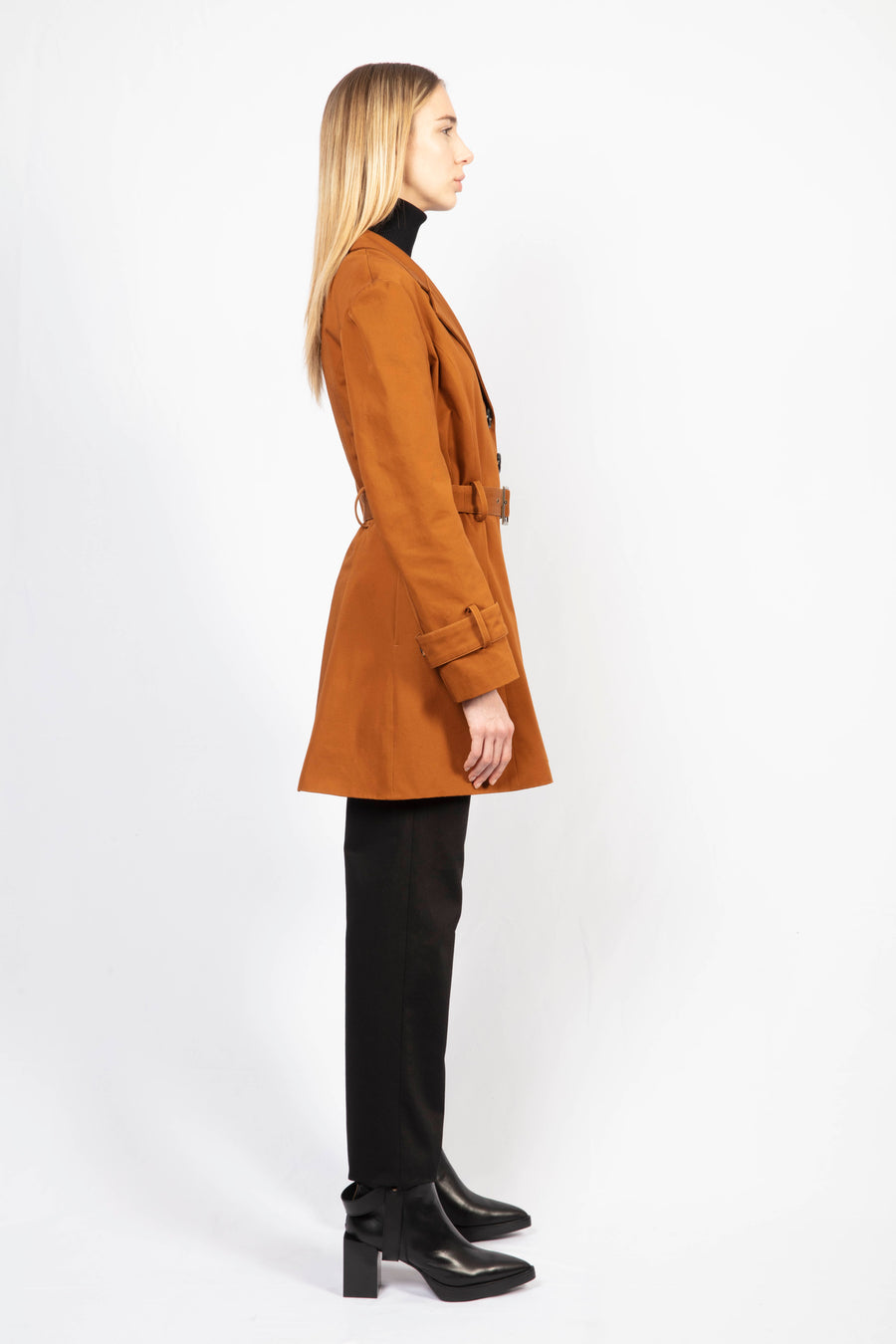 Cotton Trench Coat/ High Waisted Tailored Pants