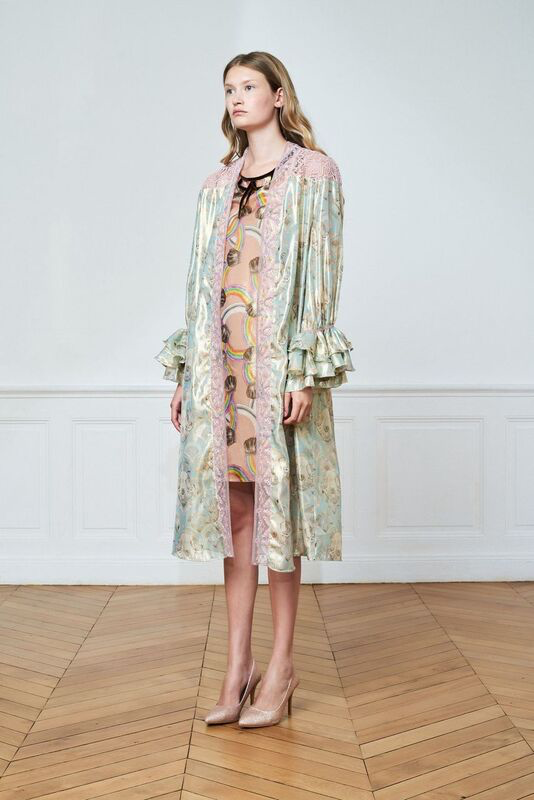 Long Printed Robe with Ruffles Cuffs