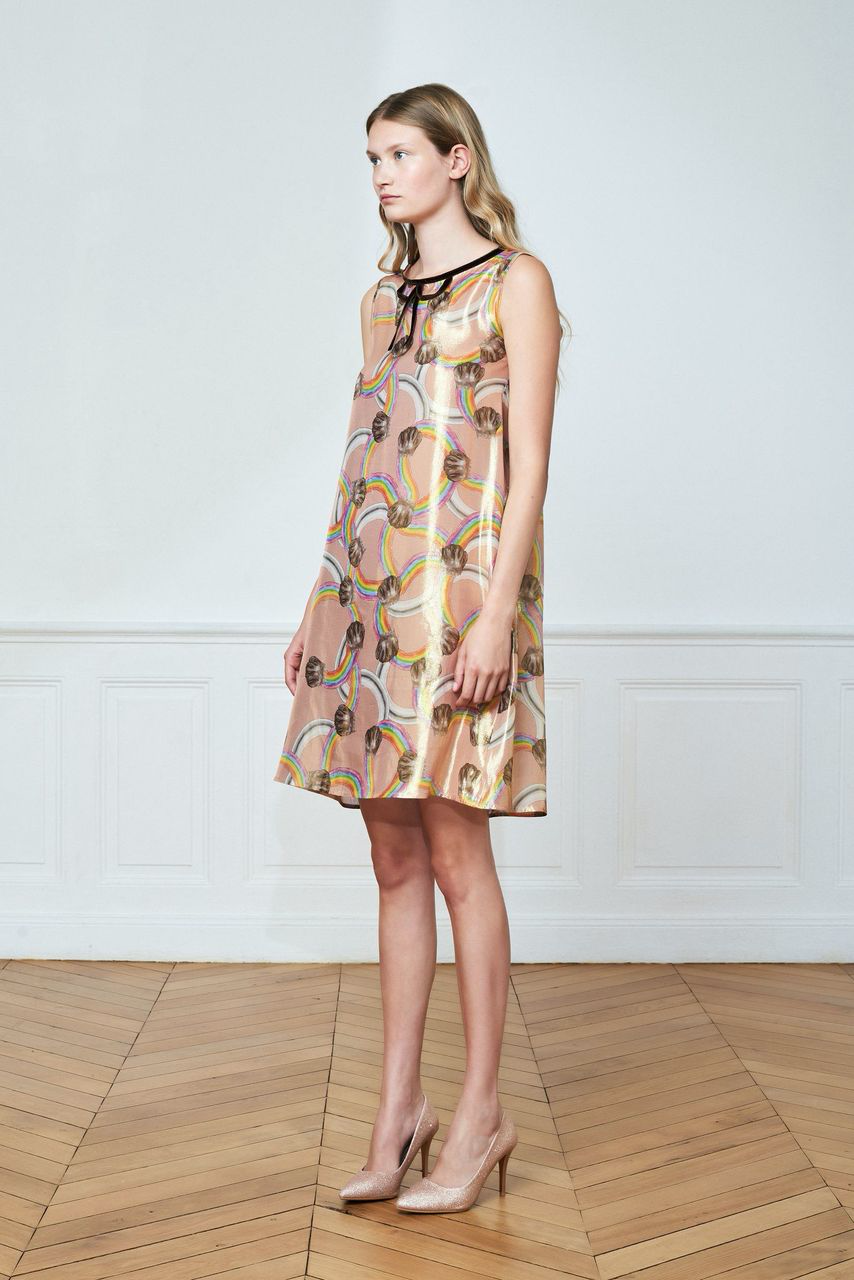 Rainbow Printed Trapeze Dress
