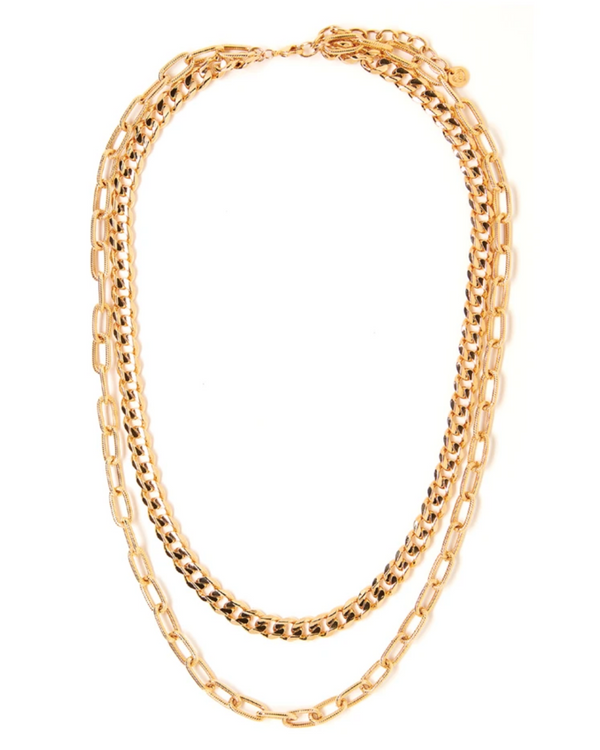 TESS + TRICIA QUINN DOUBLE CHAIN NECKLACE IN GOLD