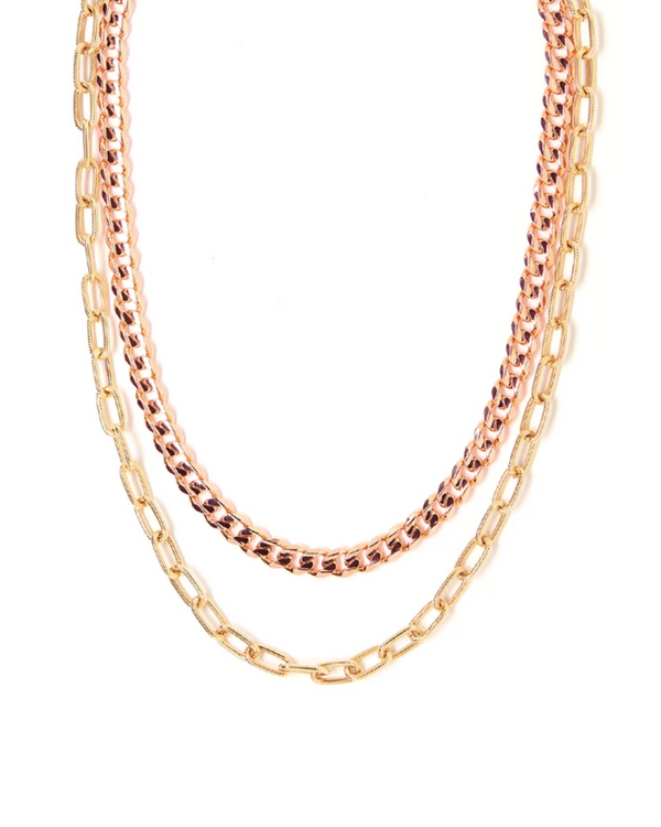 TESS + TRICIA QUINN DOUBLE NECKLACE IN ROSE