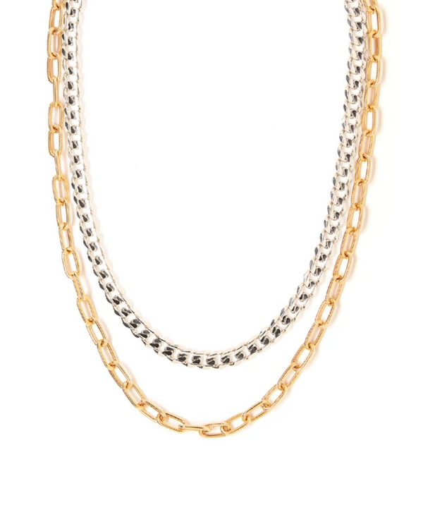 TESS + TRICIA QUINN DOUBLE NECKLACE IN SILVER GOLD