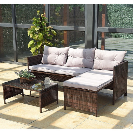GRAMPS 3 Pcs Rattan Wicker Deck Outdoor Sofa Set