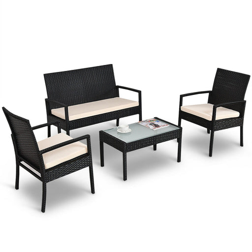 Costway 4 PCS Outdoor Patio Sofa Furniture Set
