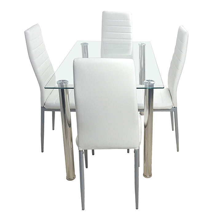 YASS Tempered Glass Dining Table Set 5pcs