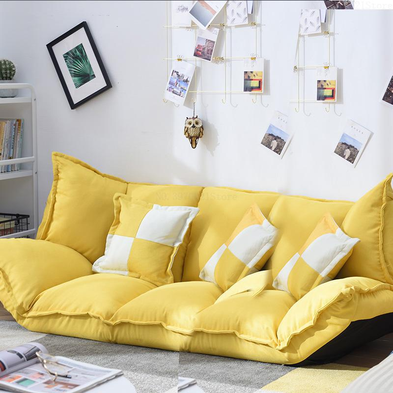 Linen Fabric Upholstery Adjustable Floor Sofa Bed