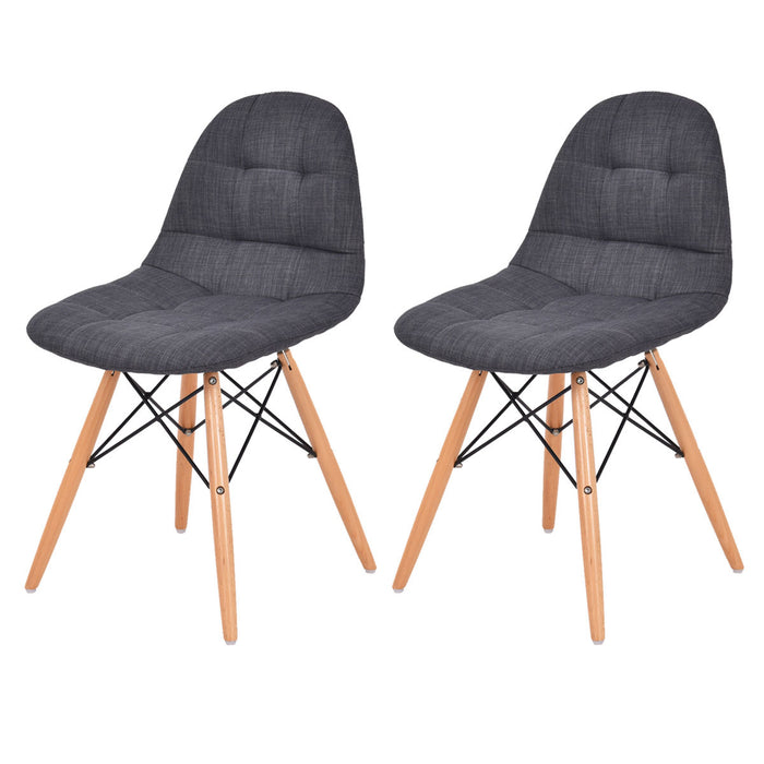 COSTWAY Set of 2 Mid Century Style Upholstered Dining Chairs