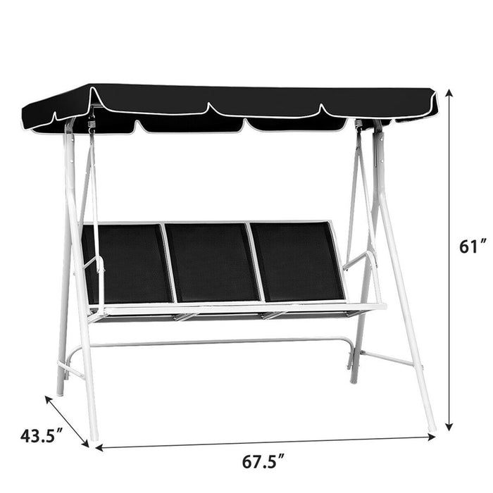 CANOPY 3 Persons Patio Deck Swing Bench