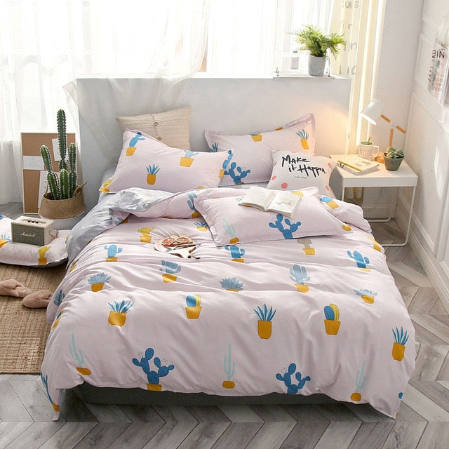 Tropical Leaf Plaids Geometric 4pcs Bed Set