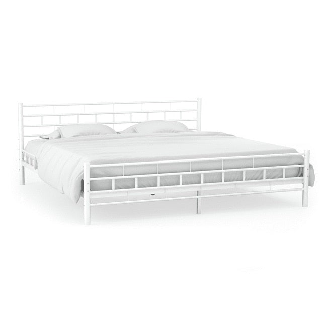 Modern Metal Bed Frame with Slatted Base 140 x 200 cm