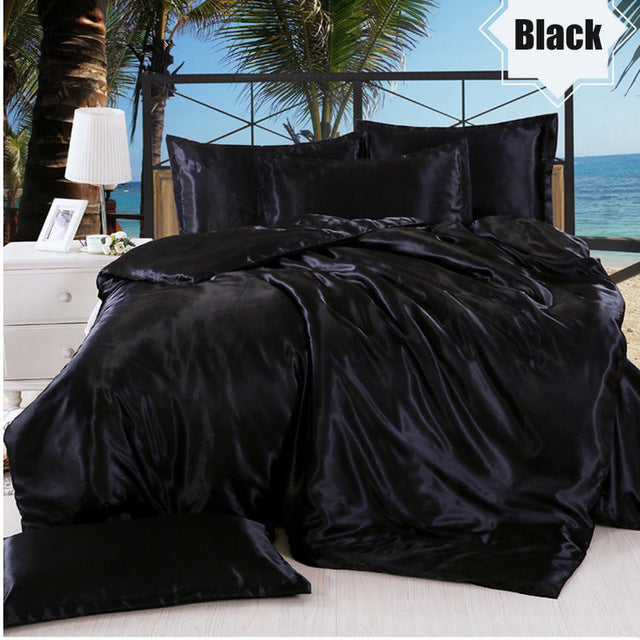Summer Silk Sheet Sets 4 Pcs with Duvet Cover