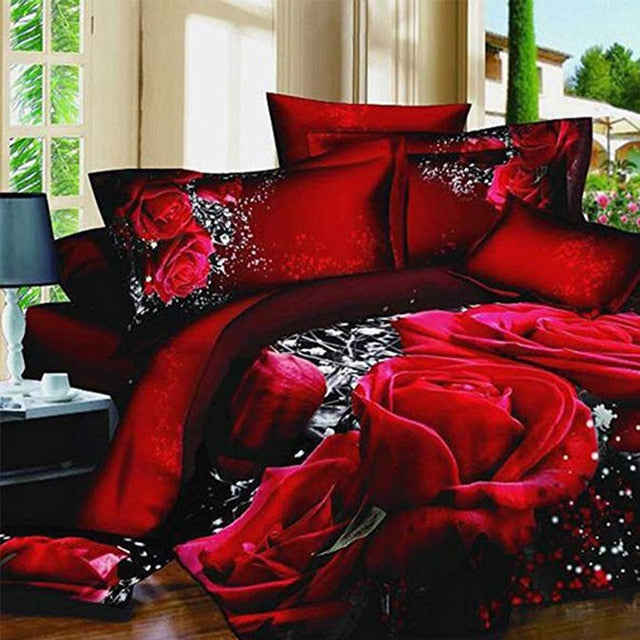LANGRIA 3D Rose Print Bedding Sets