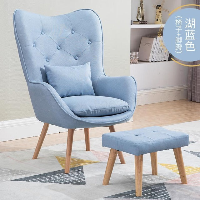 Lazy Sofa Nordic Single with Foot Stool