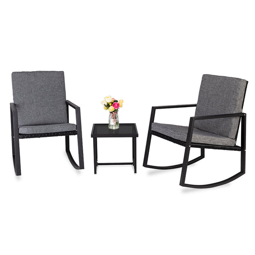 Rocking Chairs Set 3 Pcs Outdoor Patio Furniture