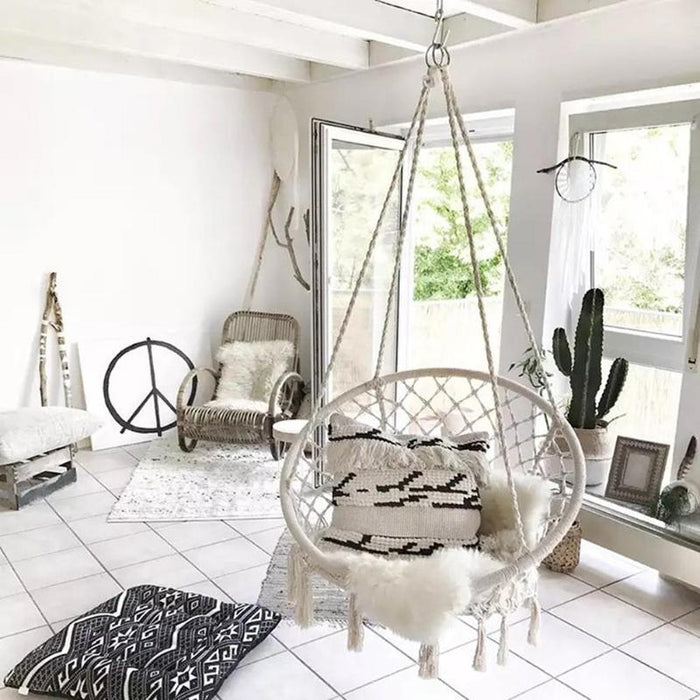 Beige Hanging Outdoor Hammock Chair