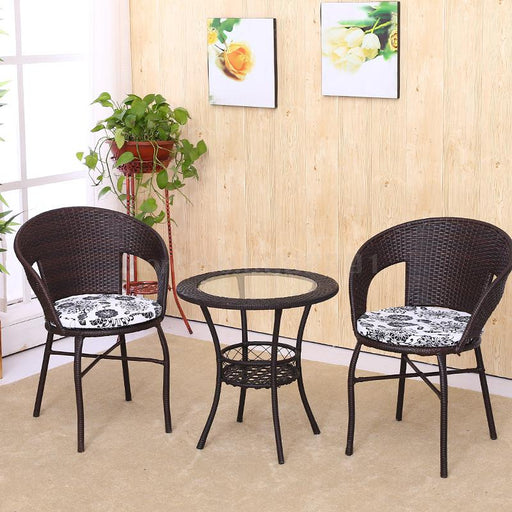 Cane Chair Tea Table 3 PCS