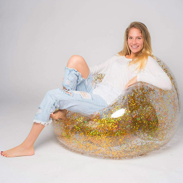 Transparent Inflatable Sofa PVC Lazy Bag with Rose Gold Glitter
