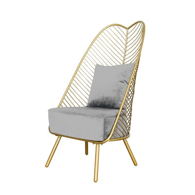 Nordic Luxury Iron Golden Sofa Leisure Chair with High Back