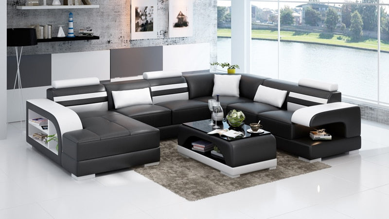 Espresso Faux Leather Corner Sofa