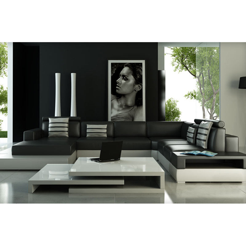 Black Living Room Leather Corner Sofa
