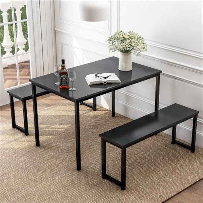 Kitchen Contemporary 3-Piece Dining Table Set with Two Benches