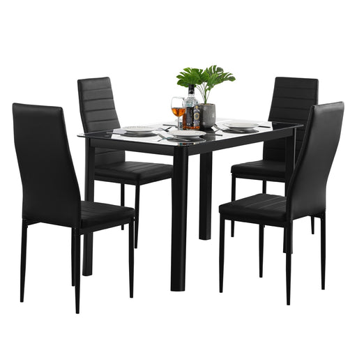 NINEEB Dining Table with High Back Black Chairs 5pcs