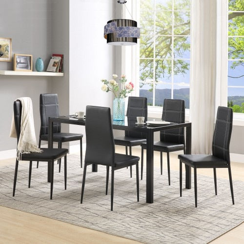 SUKU Dining Set with Rectangle Tempered Glass Table & 6 Leather Chairs 7pcs