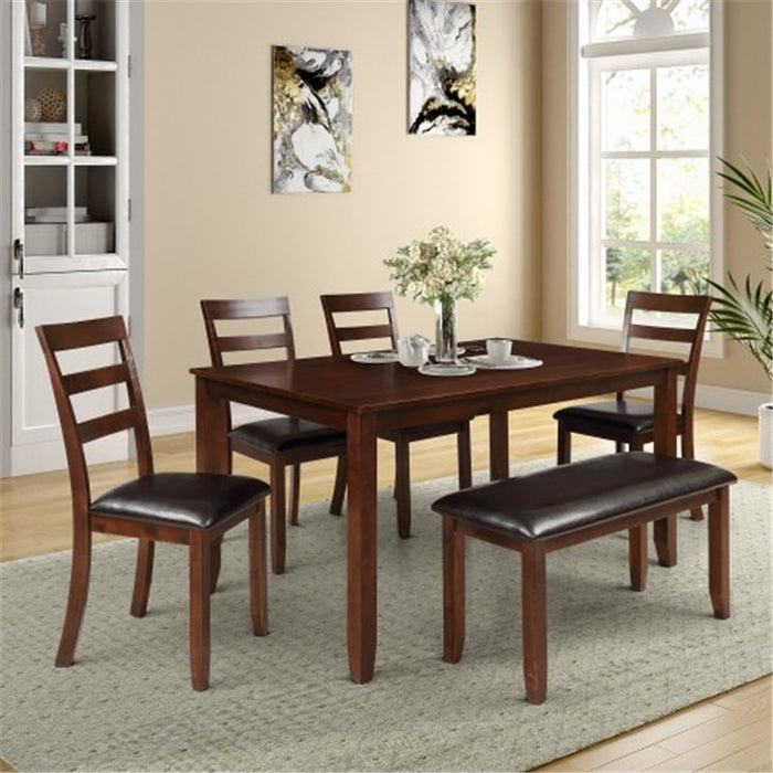 ESPRESSO 7pc Dining Set With 4 Ladder Chairs And Bench Seat