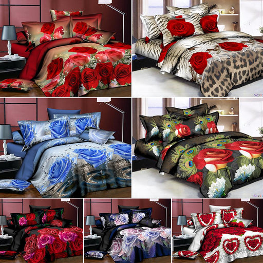 Adeeing 4Pcs/Set 3D Rose Flower Bedding Set