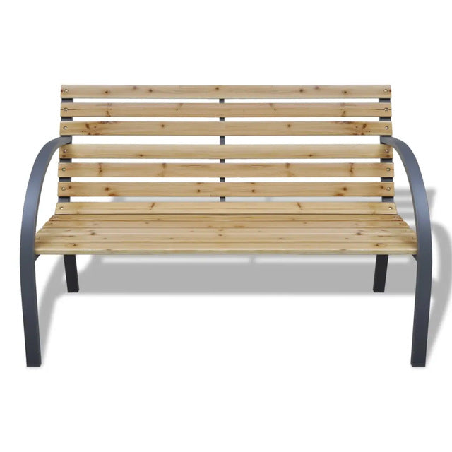 Outdoor Garden Bench with Curved Metal Armrests 112 cm Wood and Iron